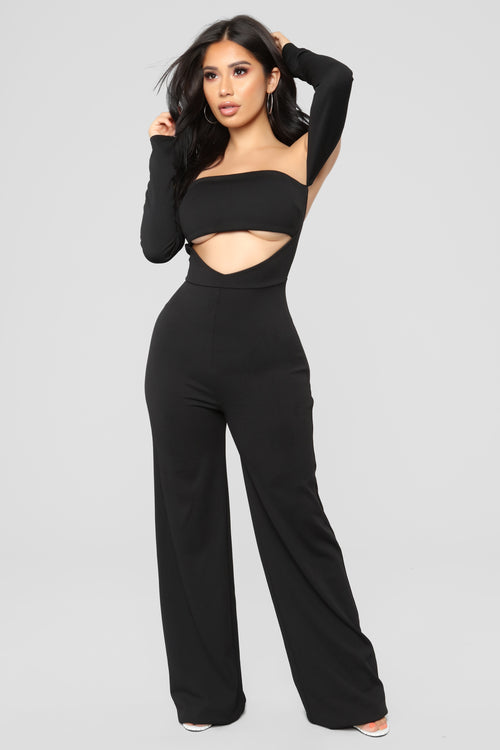 Raise Your Glass Off Shoulder Jumpsuit - Black