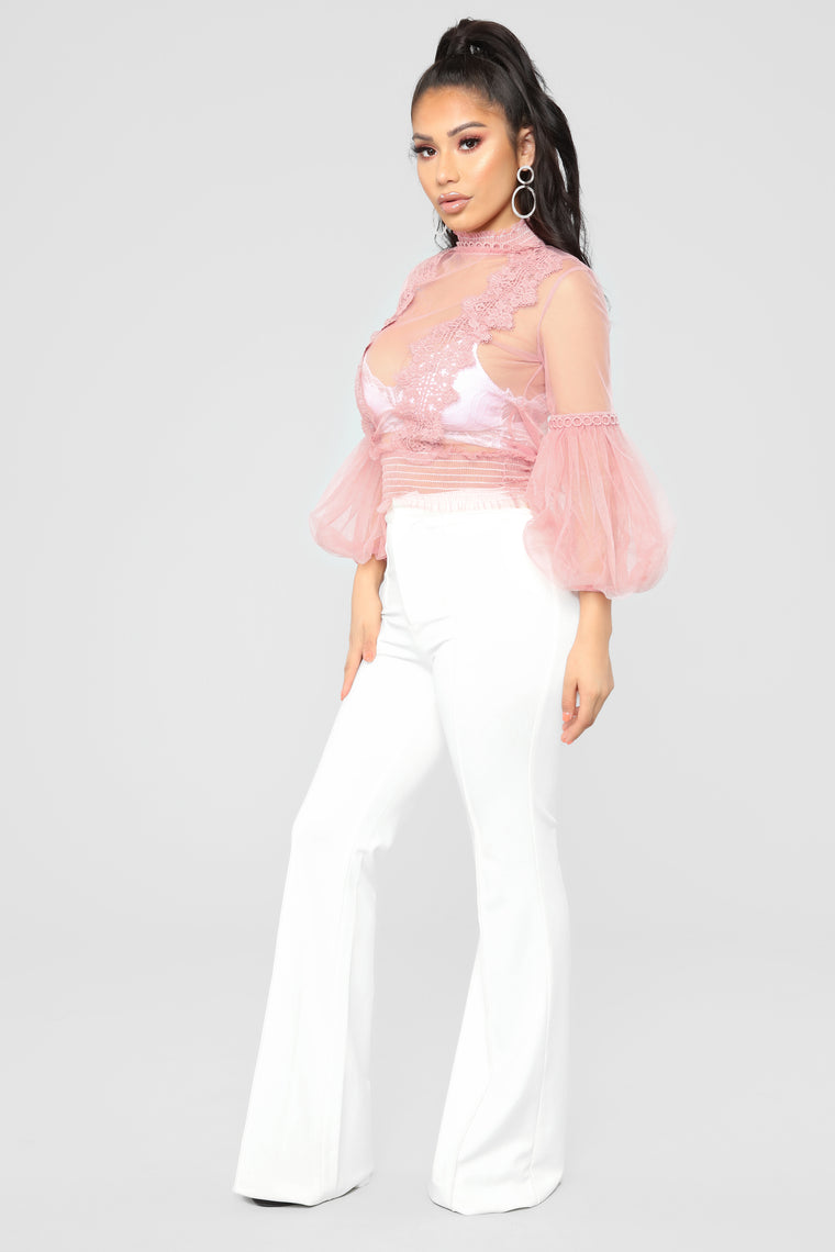 Waiting For Romeo Mesh Top - Mauve
