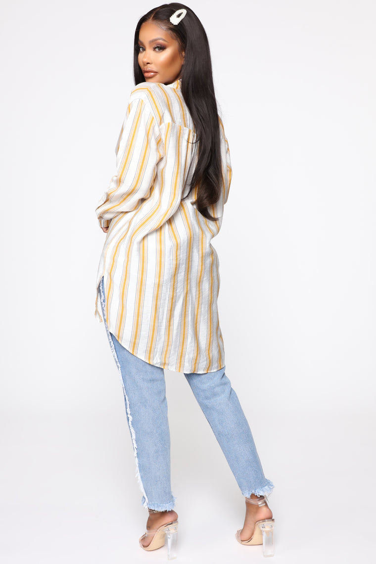 Speak On It Button Down Top - Yellow/Combo