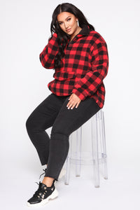 Well Plaid Pullover Jacket - Red/Black