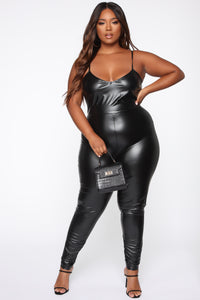 Feels So Classic Faux Leather Jumpsuit - Black Angle 5