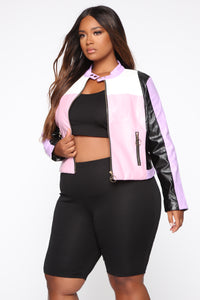 Not Your Average Colorblock Jacket - Pink/combo