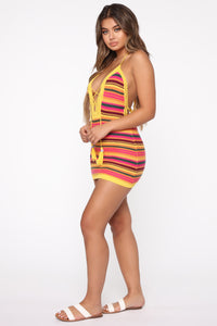 Colorful Lifestyle Stripe Mini Dress - Yellow/Multi