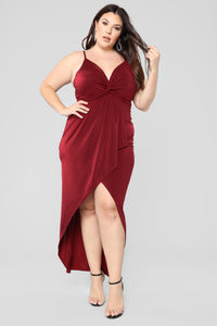 Love Is Patient Ruffle Dress - Burgundy