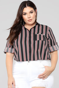 Late Night Snack Stripe Top - Black