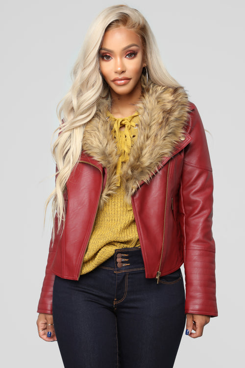 Clairey Faux Leather Jacket - Red/Natural