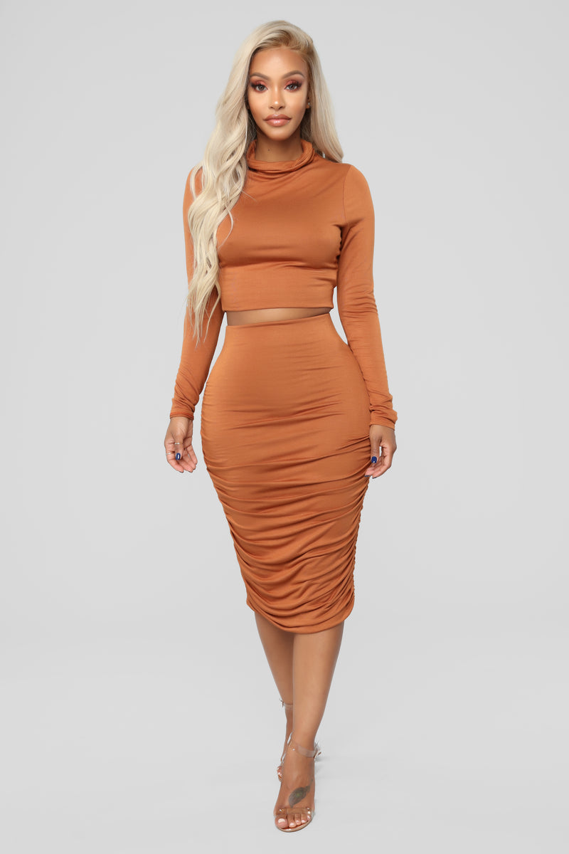 Almost In Love Skirt Set - Copper