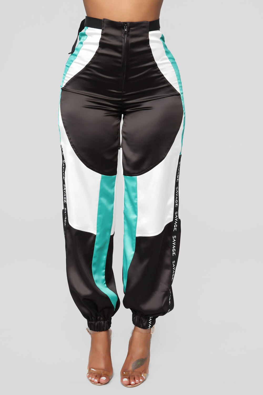 Julianna Satin Joggers - Black/Green