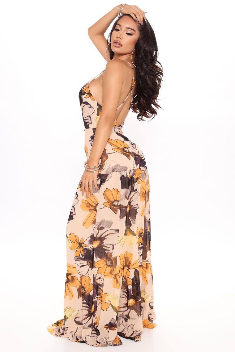 Floral Gaze Maxi Dress - Yellow/combo