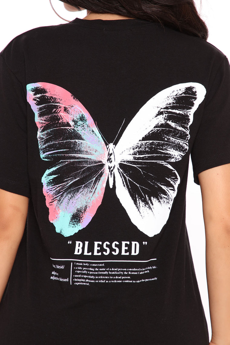 Blessed Butterfly Graphic Top - Black