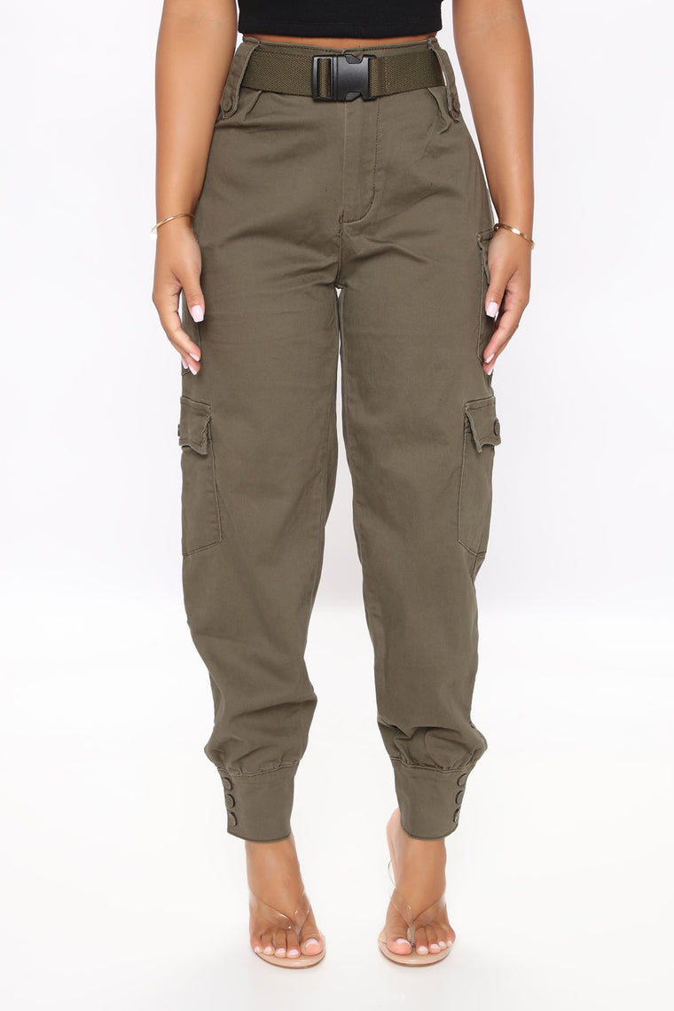 Buckle Up Babe Cargo Joggers - Olive