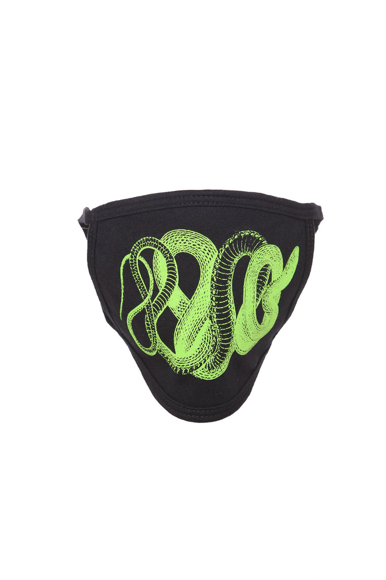 Venomous Snake Face Mask - Black/Green
