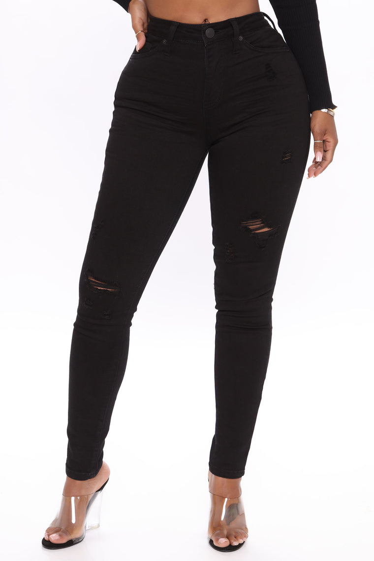 Take A Minute Mid Rise Skinny Jeans - Black