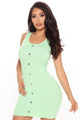 Just You And Me Button Front Mini Dress - Green