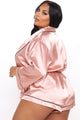 Sunday Morning Satin Sleep Romper - Pink