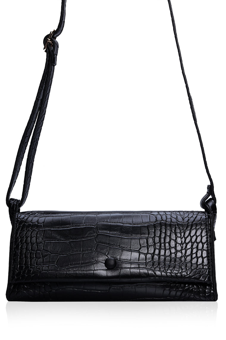 Bri Croc Shoulder Bag   Black by Fashion Nova