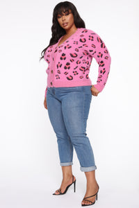 What A Fierce Bae Cardigan - Hot Pink