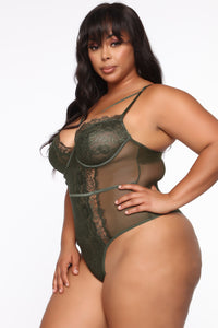 Somebody To Love Lace Teddy - Green Angle 5