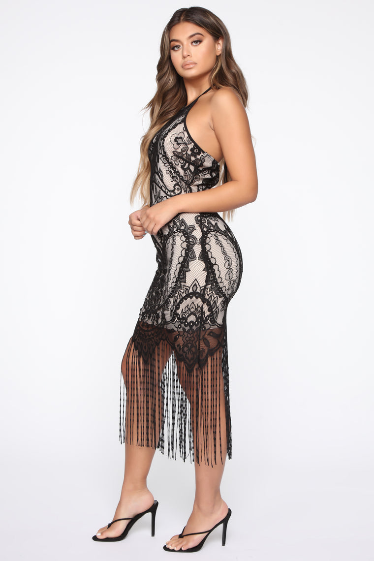 Get With The Fringe Lace Midi Dress - Black