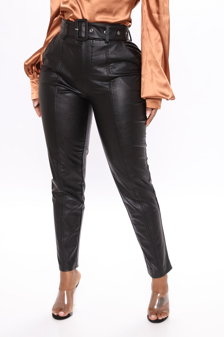 Blondie Belted Faux Leather Pants - Black