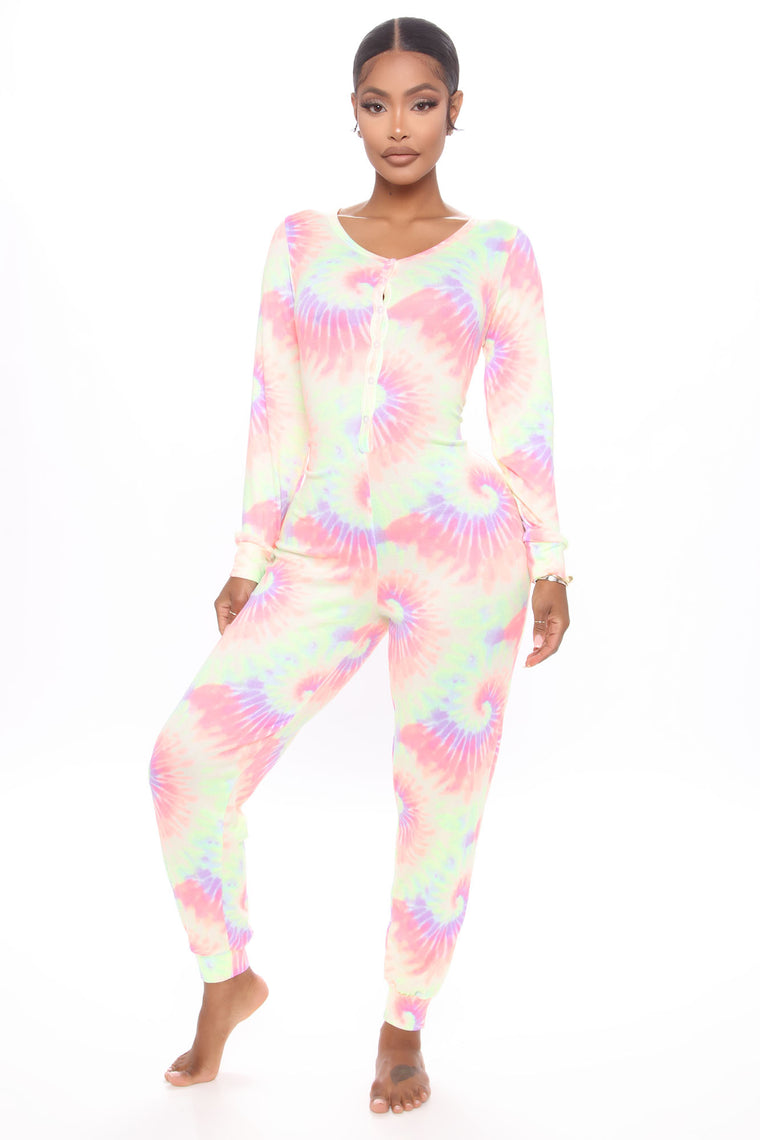 Don't Trip Brushed PJ Jumpsuit Onesie - Multi Color
