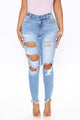 Deidra Mid Rise Ankle Jeans - Light Blue Wash