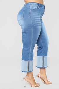Two Toned Heart Straight Leg Crop Jeans - Medium Blue Wash