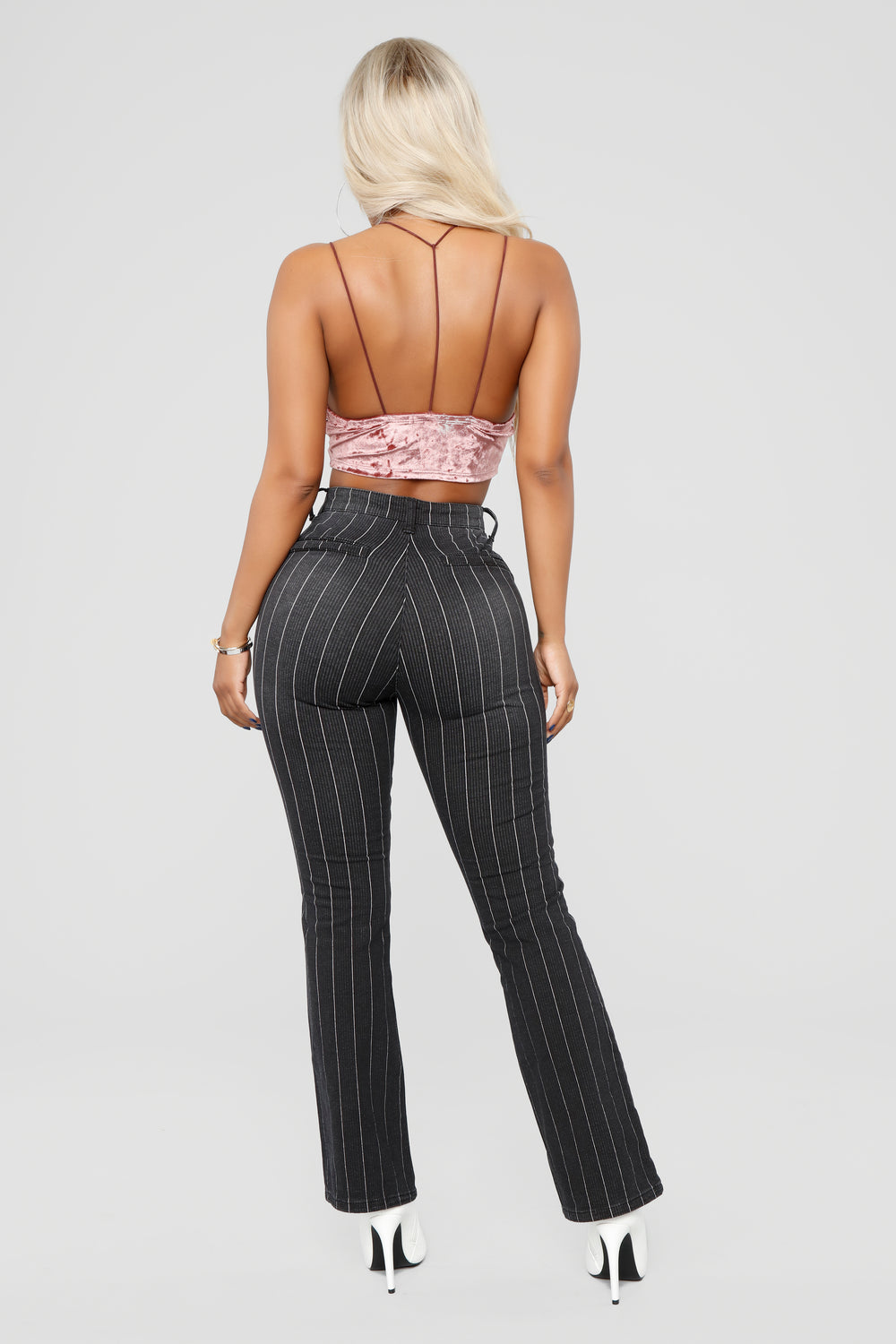 Gangster Of Love Pin Stripe Flare Jeans - Black