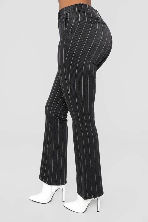 Gangster Of Love Pin Stripe Jeans - Black