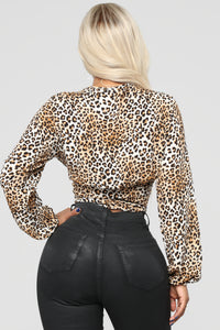 Leopard White Lies Top - Brown