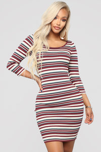 Tara Stripe Sweater Dress - Burgundy Combo