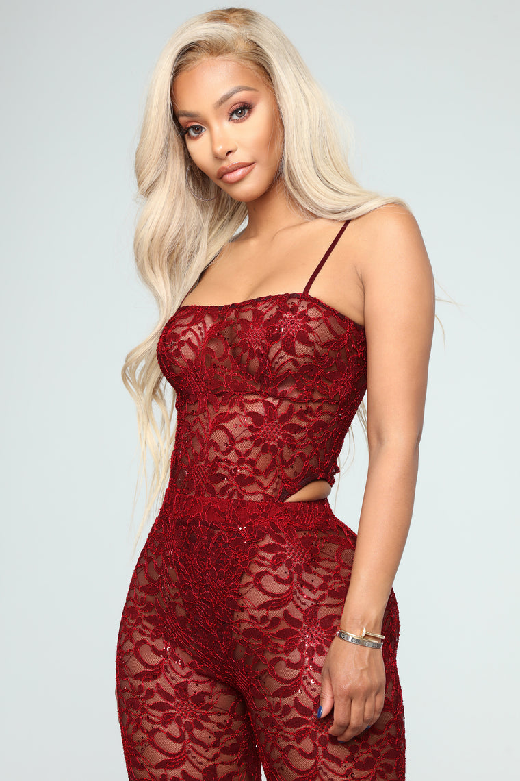 Love Lace Without You Pants Set - Burgundy