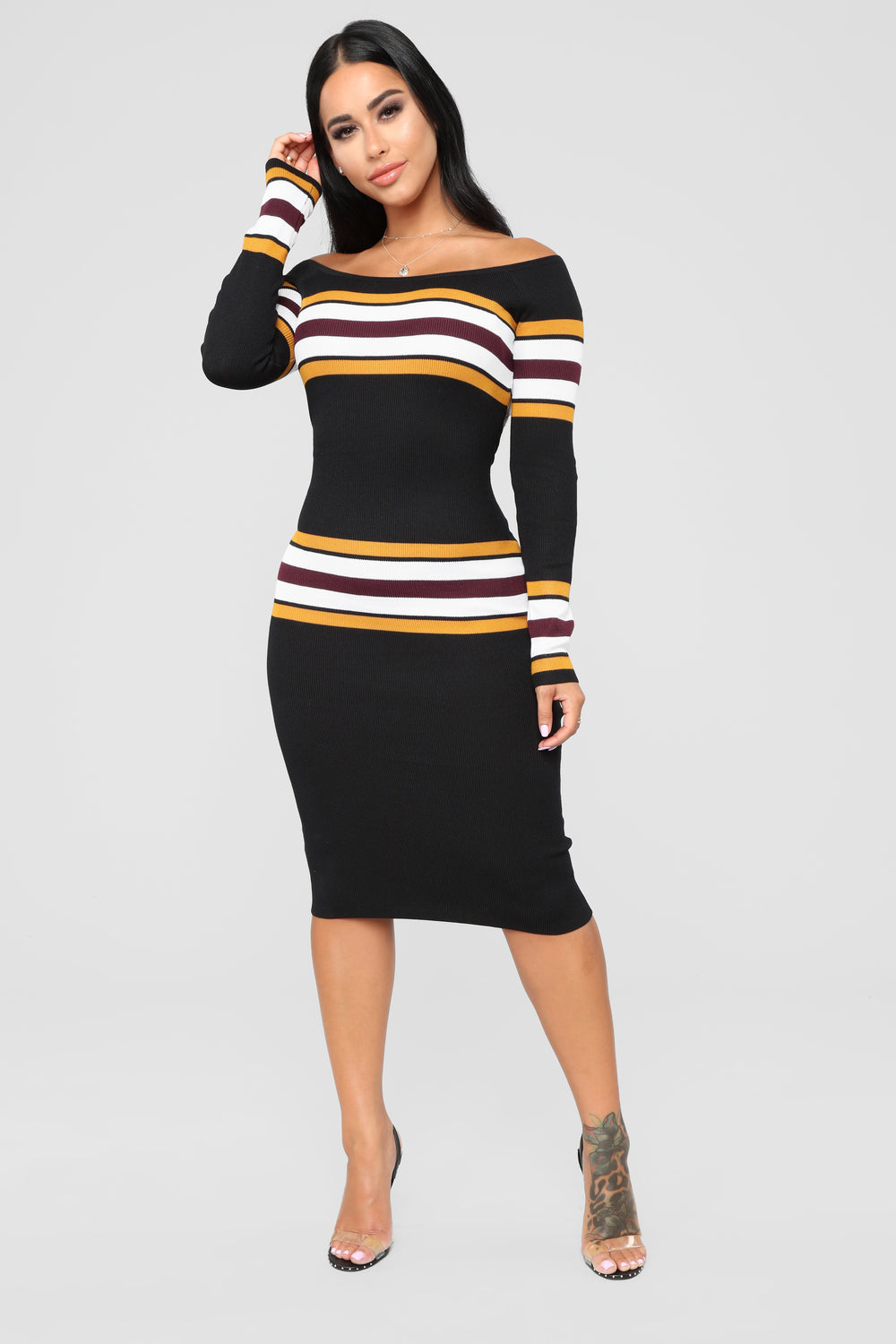 Adriana Stripe Sweater Dress - Black/Combo