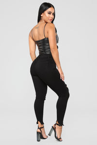 Don't Be So Square PU Bodysuit - Black
