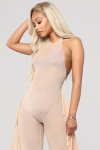 Sunshine See Through Cover Up Jumpsuit - Mocha
