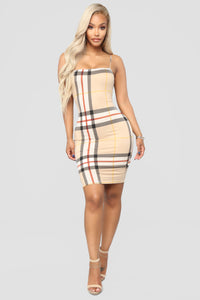 Plaid It Right Dress - Taupe