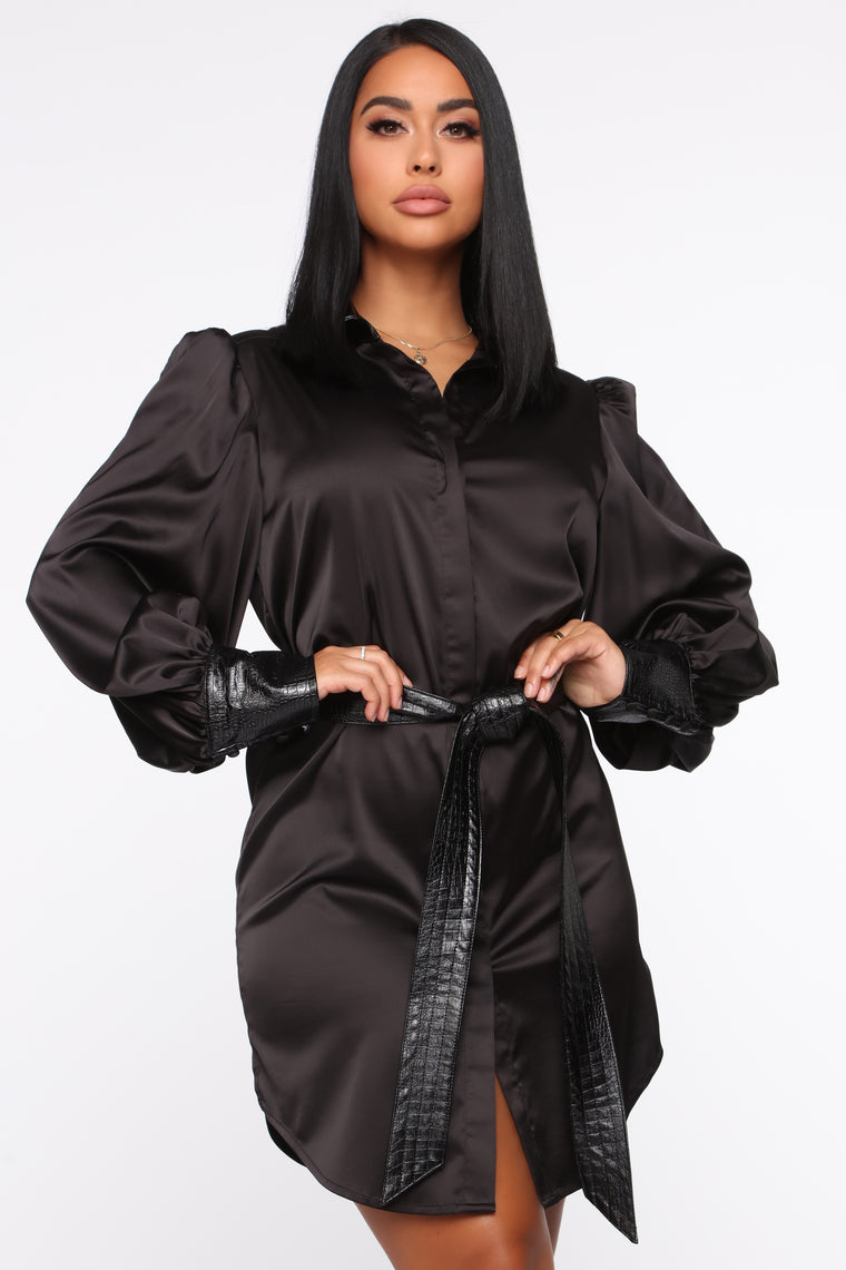 e99338b53303c Talking Business Satin Shirt Dress - Black