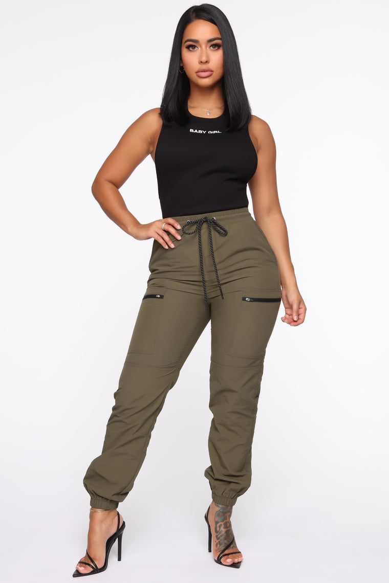 On The Low High Rise Joggers   Olive by Fashion Nova