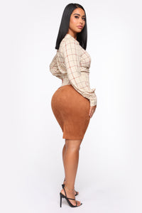 Walk This Way Midi Skirt - Cognac