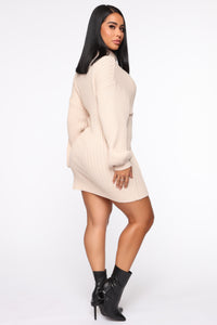 Too Cozy Turtle Neck Sweater Dress - Taupe