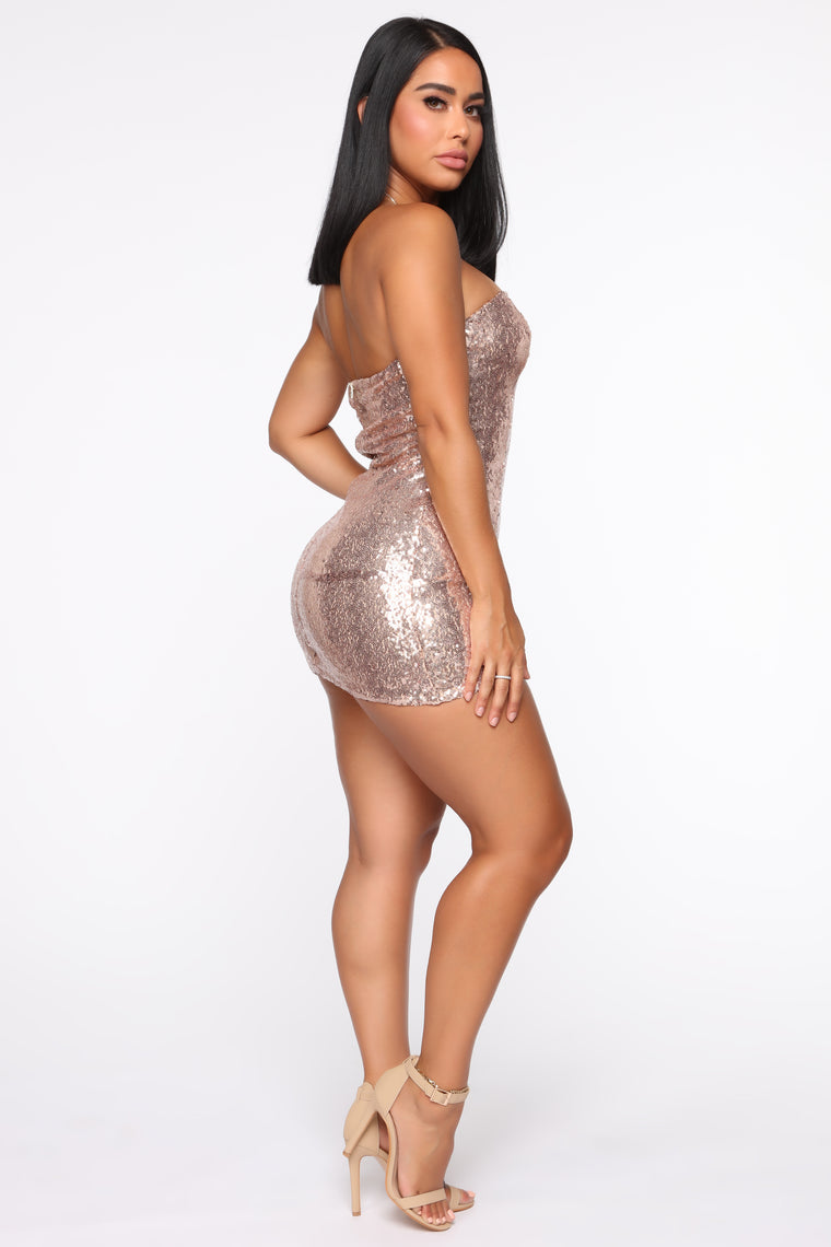 Dazzled At The Sight Of Me Dress Set - Rose Gold