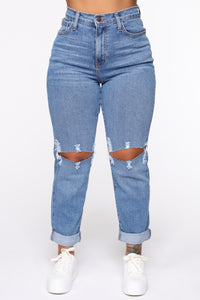 Not Your Mama's Distressed High Rise Jeans - Medium Wash Angle 2