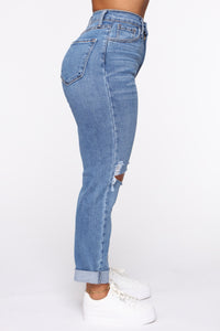 Not Your Mama's Distressed High Rise Jeans - Medium Wash Angle 3