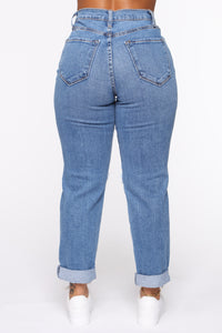 Not Your Mama's Distressed High Rise Jeans - Medium Wash Angle 5