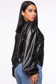 Going With The Faux Bomber Jacket - Black