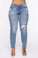 Jacky Mid Rise  Boyfriend Jean - Medium Blue Wash