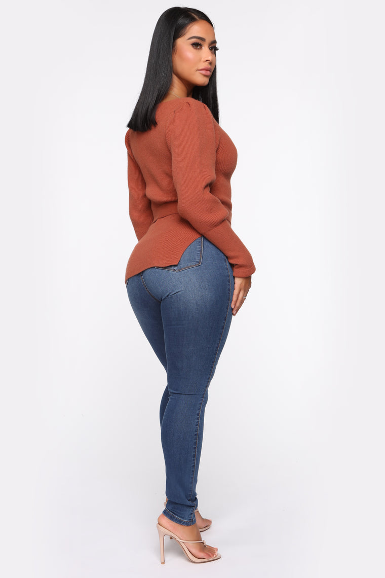 I'm Your Lady Belted Sweater - Cognac