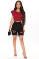 Chelsea High Demand Cropped Top - Burgundy