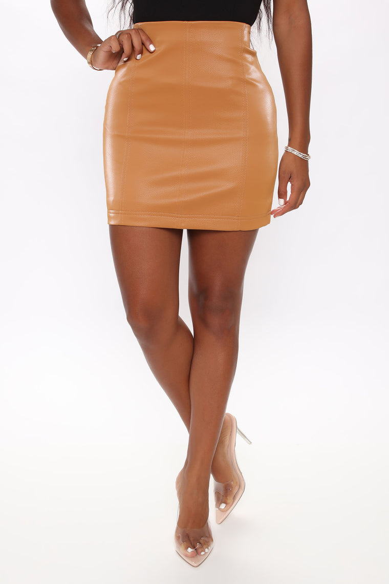 Super Cute Bodycon Mini Skirt - Cognac