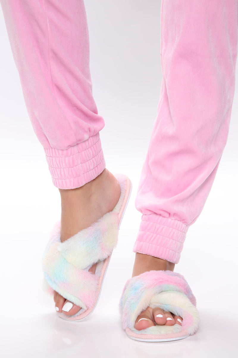 Fuzzy Moments Slippers - Multi Color